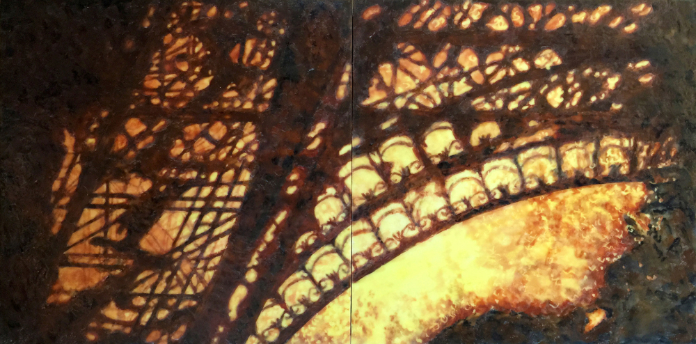 Bastille Day Fireworks by S. Kay Burnett, Encaustic Diptych, 12 in x 24 in x 2 in