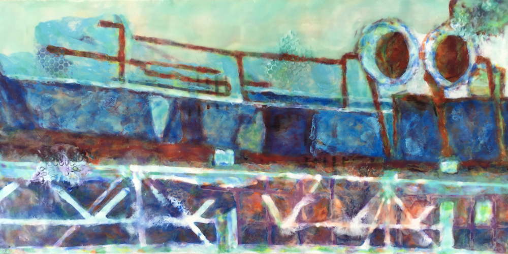 Pompidou by S. Kay Burnett, Encaustic, 12 in x 24 in x 2 in