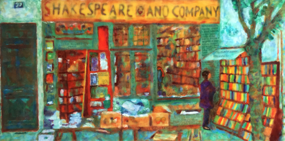 Shakespeare & Co by S. Kay Burnett, Encaustic, 12 in x 24 in x 2 in