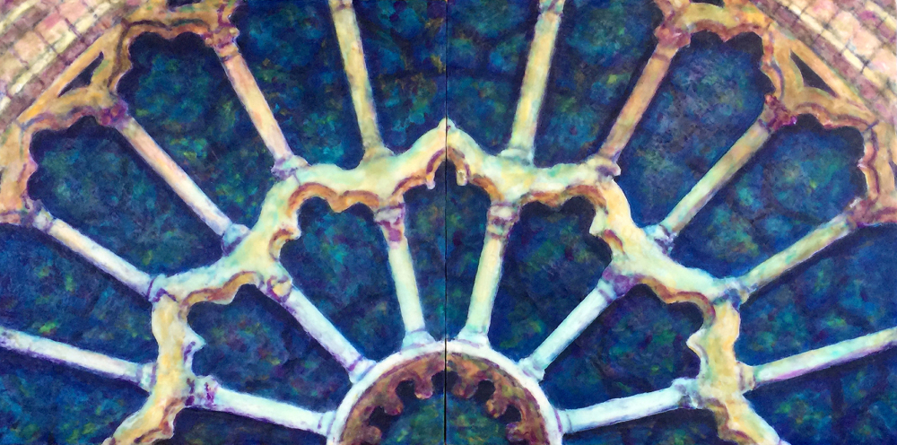 Rose Window Revisited by S. Kay Burnett, Encaustic Diptych, 12 in x 24 in x 2 in