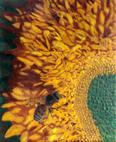 Bee on Sunflower by S. Kay Burnett, Encaustic, 24 in x 20 in x 2 in