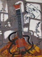 Cubist Guitar by S. Kay and Gerry Burnett, Encaustic, 24 in x 18 in x 2 in