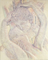 Cupid's Kiss by S. Kay Burnett, Encaustic Relief, 30 in x 24 in x 3 in