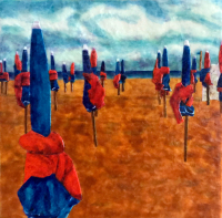 Deauville Beach Umbrellas by S. Kay Burnett, Encaustic, 12 in x 12 in x 2 in