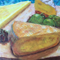 Fromage et Raisins by S. Kay Burnett, Encaustic,12 in x 12 in x 2 in