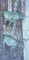 Gargoyles at Twilight by S. Kay Burnett, Encaustic Relief, Diptych 24 in x 12 in x 2 in