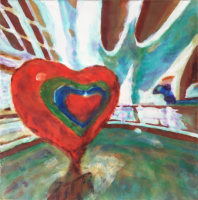 Hearts & Tubes by S. Kay Burnett, Encaustic, 12 in x 12 in x 2 in