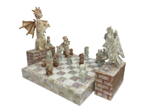 Checkmate by S. Kay and Gerry Burnett, Encaustic on paperclay, wood, wire, and gesso, 18 in x 30 in x 18 in