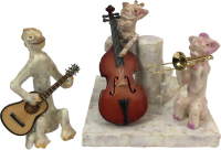 Ms Bones Jazz Trio by S. Kay and Gerry Burnett, Encaustic on paperclay, wood, and gesso, 6 in x 12 in x